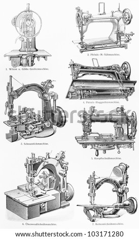 Vintage various types of sewing machines from the end of 19th century - Picture from Meyers Lexikon book (written in German language) published in 1908 Leipzig - Germany. - stock photo