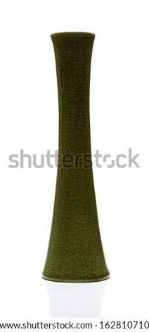 vintage vase on white background - stock photo