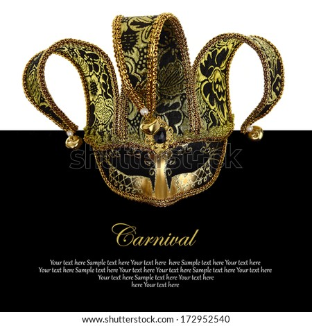 Vintage venetian carnival mask with copy-space - stock photo