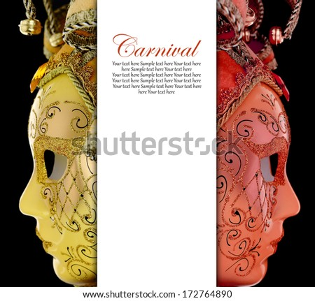 Vintage venetian carnival masks with blank banner - stock photo