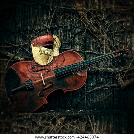 Vintage Venetian Musical Notes Mask with Violin - stock photo
