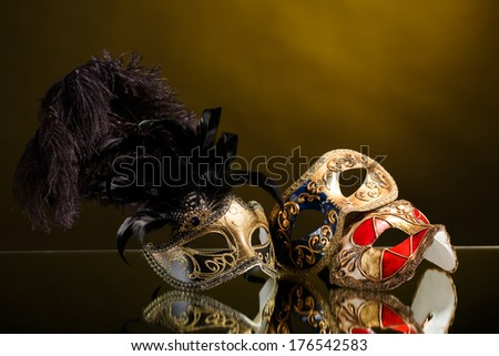 Vintage venetianfestive masks with isolated studio shot