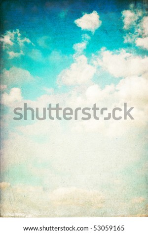 Vintage vertical sky background isolated on white.