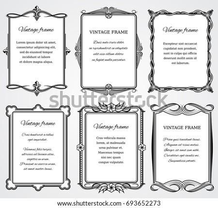 Vintage Victorian Border Frames Set Certificate Stock Illustration ...