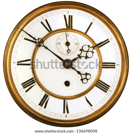 Vintage Victorian Old Clock Face with Roman Numerals isolated - stock photo