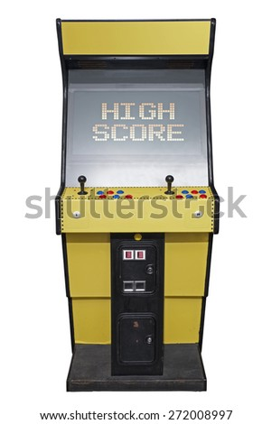 Vintage video game with High Score screen isolated on white
