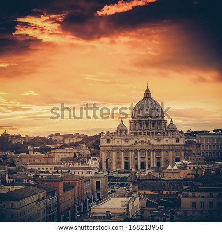 Vintage  view at St. Peter's cathedral in Rome, Italy - stock photo