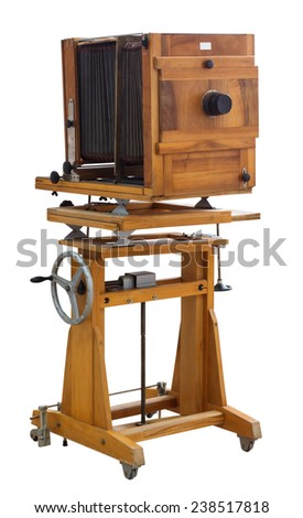 Vintage view camera isolated on white background - stock photo
