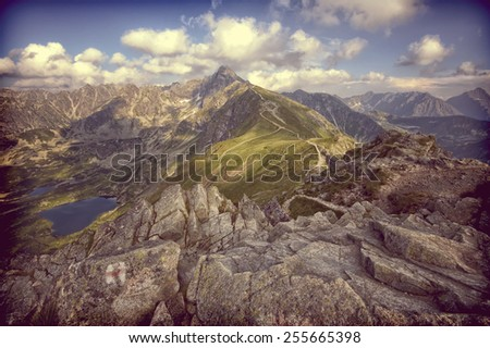 Vintage view from Kasprowy Wierch in High Tatra Mountains, Poland