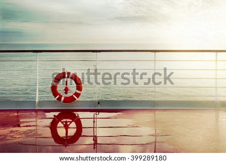 Vintage view of a cruise deck and seascape.  Postcard ancient effect. - stock photo