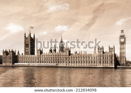 Vintage view of London, Big Ben & Houses of Parliament - stock photo