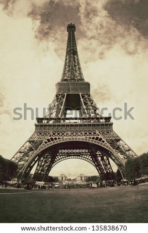 Vintage view of Paris with Eiffel tower - France