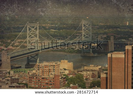 Vintage view of the Ben Franklin Bridge in Philadelphia. - stock photo