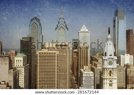 Vintage view of the Philadelphia skyline with City Hall in the front - stock photo