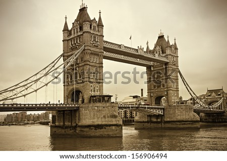 Vintage view of Tower Bridge, London - stock photo