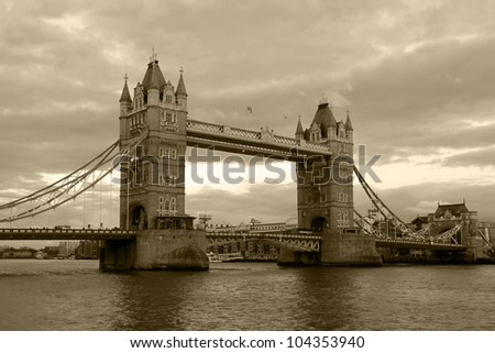 Vintage view of Tower Bridge, London. Sepia toned. - stock photo