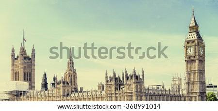 Vintage view of Westminster Bridge, London. - stock photo