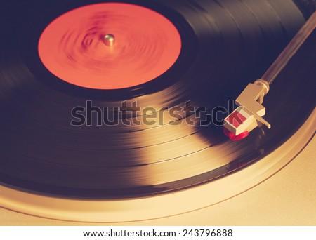 vintage vinyl player, retro film filtered, instagram style  - stock photo