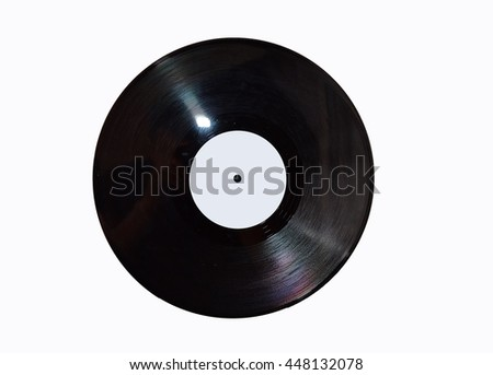 Vintage vinyl record,red,blue label, clipping,coal - stock photo
