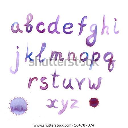 Vintage violet ink painted retro font - stock photo