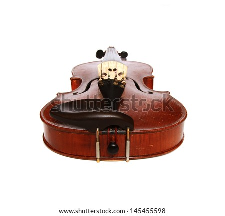 Vintage violin cut out on white background - stock photo