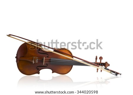 Vintage violin on white background - stock photo