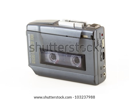 vintage walkman in a white background - stock photo