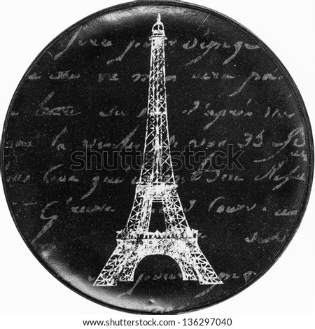Vintage wall decoration sign with Paris theme - stock photo