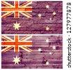 Vintage wall flag of Australia collage - stock photo