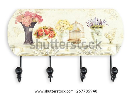 Vintage wall hanger or wall hook isolated on white background - stock photo