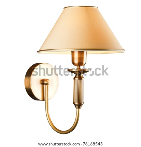 vintage wall lamp isolated on white - stock photo