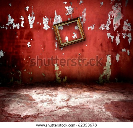vintage wall with old frame - stock photo