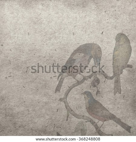 vintage wallpaper background with bird - stock photo
