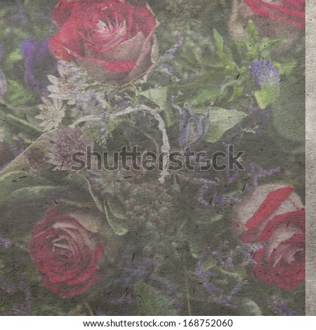 vintage wallpaper background with bouquet of rose - stock photo