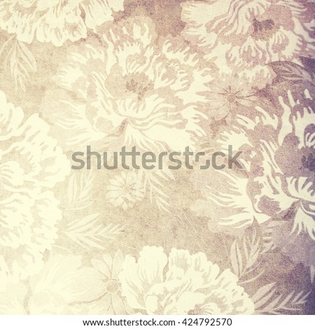 Vintage wallpaper background with flowers. - stock photo