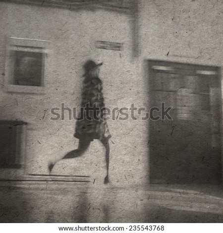 vintage wallpaper background with running girl - stock photo