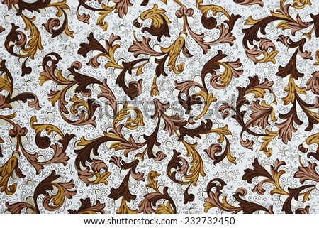 Vintage Wallpaper - Floral Pattern from 18th Century - stock photo