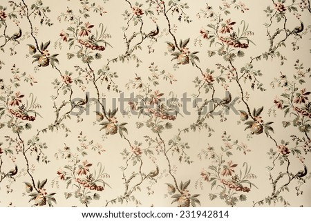 Vintage wallpaper - Floral pattern of 18th century - stock photo