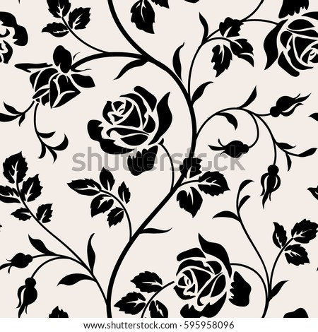 Vintage Wallpaper With Blooming Roses And Leaves Floral Seamless Pattern Black Silhouette On White