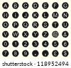 Vintage warn and faded typewriter keys. Set of letters, numbers and symbols. - stock vector