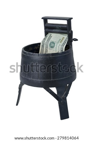 Vintage Washing Machine with Squeezing Rollers laundering money - path included - stock photo