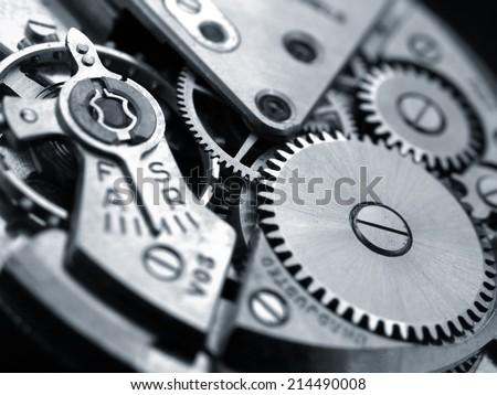 vintage watch machinery macro detail monochrome - stock photo