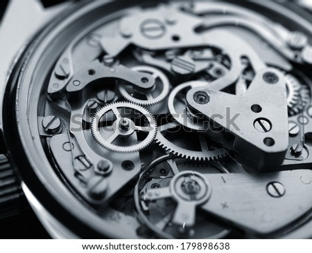 vintage watch machinery macro detail monochrome  selective focus      - stock photo