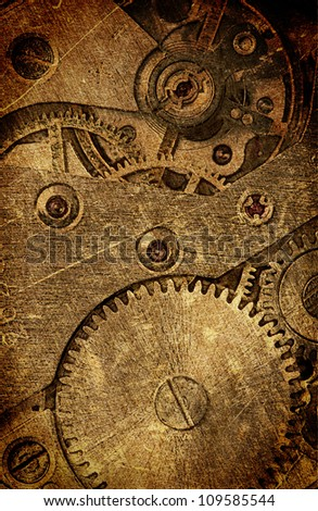 vintage watch mechanism, an abstract background