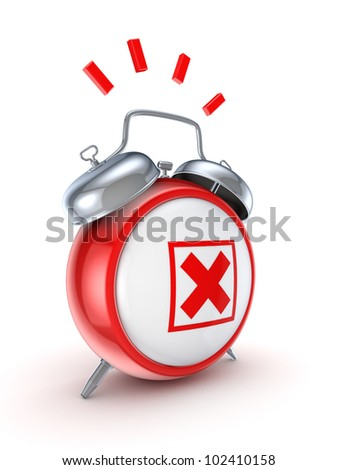 Vintage watch with a red cross mark.Isolated on white background.3d rendered. - stock photo