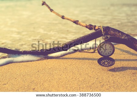 Vintage Watches on beach - Time Loneliness Memories concept. - stock photo