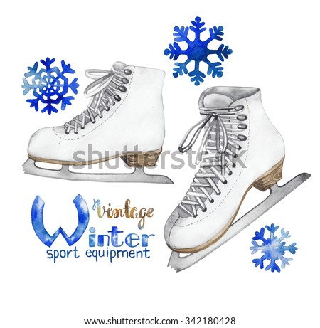 Vintage watercolor ice skates isolated on white background - stock photo
