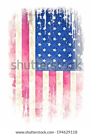 Vintage watercolor of American flag, Photo illustration / men's t-shirt illustration / t-shirt graphics - stock photo