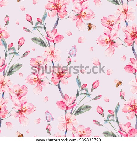 Vintage Watercolor Spring Garden Seamless Background With Pink Flowers Blooming Branches Of Cherry Peach