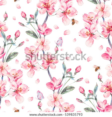 Vintage watercolor spring garden seamless background with pink flowers blooming branches of cherry, peach, pear, sakura, apple trees and butterflies, isolated botanical illustration.
